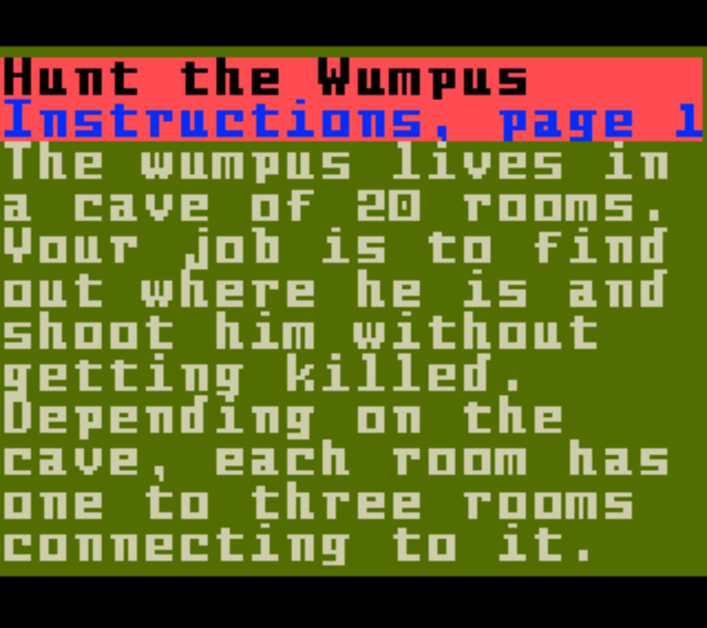 Hunt the Wumpus Instructions